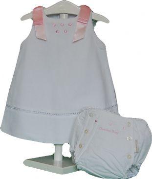 Conjunto faldon y cubre-pañal blanco y rosa