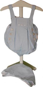 Conjunto ranita y capota en celeste con blanco talla unica